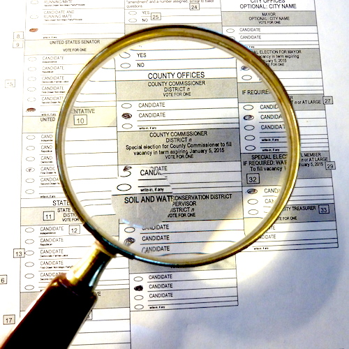 Sample Ballot with Magnifying glass